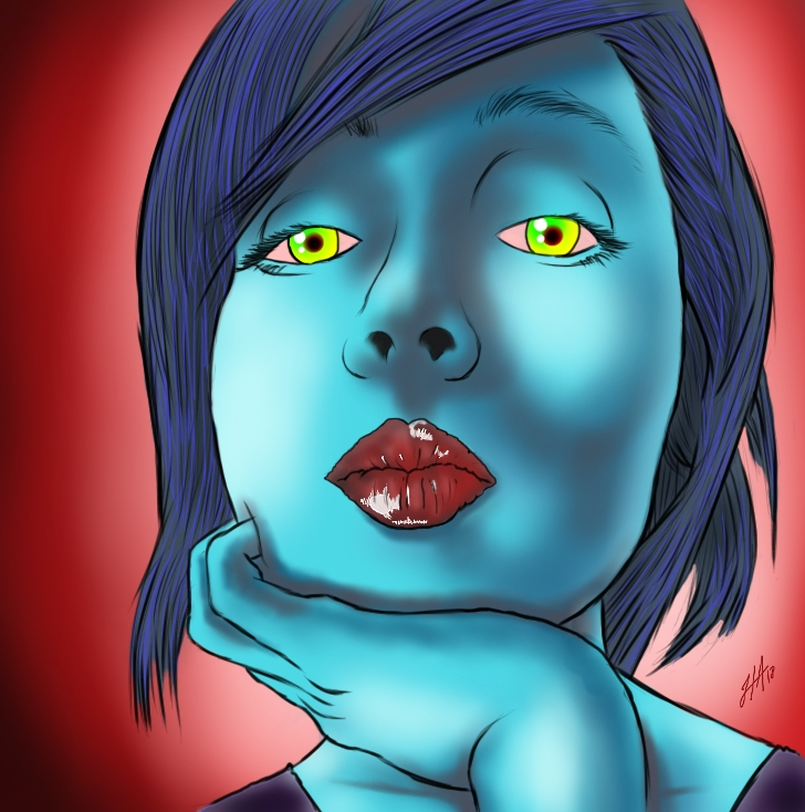 Ella vive en la obscuridad #Retrato.